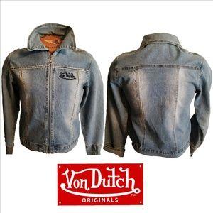 VON DUTCH Denim Jean Jacket Zipper Front XL ⓈⒶⓁⒺ